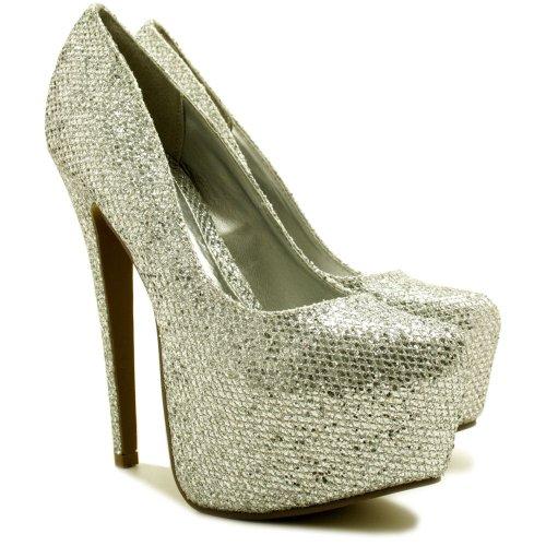 High-Heels-High-Heels-Pumps: Pumps High Heel Schuhe Stiletto Absatz Plateau Silver Gr 38