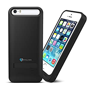 Cheap iPhone 5 5S Battery Case : Stalion® Stamina Rechargeable Extended Charging Case [Apple MFi Certified][24-Month Warranty](Jet Black) 2400mAh Protective Charger Case for Apple iPhone 5 & 5S with Kickstand + LED Charge Indicator Light