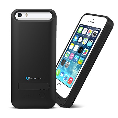 iPhone 5 5S Battery Case : Stalion® Stamina Rechargeable Extended Charging Case  2400mAh Protective Charger Case for Apple iPhone 5 & 5S with Kickstand + LED Charge Indicator Light