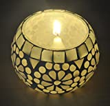 Lalhaveli Hand Painted Glass Candle Holder 3 Inch White Color