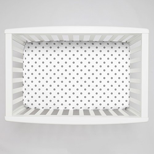 Carousel Designs White and Gray Polka Dot Mini Crib Sheet 5-Inch-6-Inch Depth (Mini Crib Sheets 6in Deep compare prices)