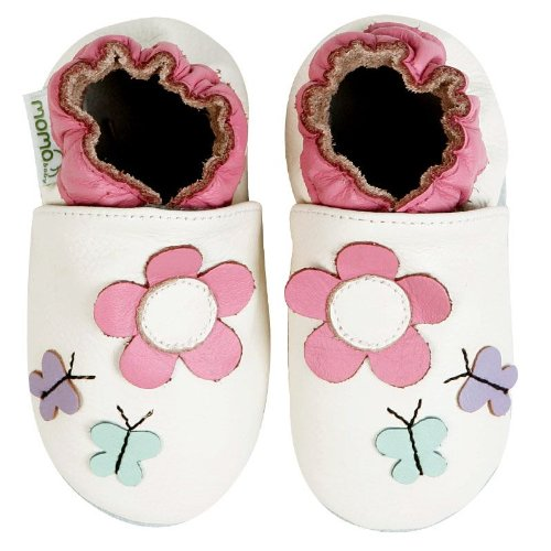 Momo Baby Soft Sole Baby Shoes - Daisy & Butterfly Cream White