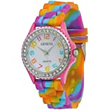 COCOTINA New Geneva Rainbow Crystal Rhinestone Watch Silicone Jelly Link Band
