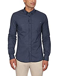 GAS Men's Casual Shirt (8059890866373_83609_Large_538-Blue and Black)