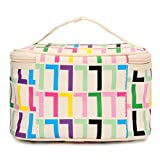 Portable Travel Make Up Bag Mirror Cosmetic Wash Container Organizer Pouch (Beige)