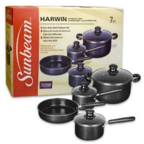 Sunbeam 62020.07 Harwin 7-Piece Cookware Set, Charcoal Grey