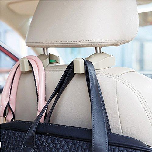 ChiTronic Car SUV BackSeat Headrest Hanger Hooks - Set of 2 (Beige)