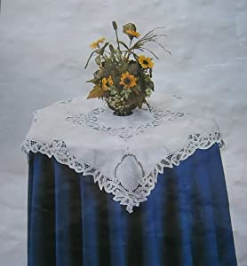 "100% Cotton Handmade Crochet Lace with Embroidery Table Cloth and Napkins White (54x72""ob)"