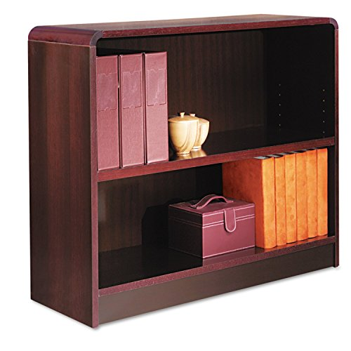 Alera Radius Corner Bookcase, Finished Back, Wood Veneer, 2-Shelf, 36 W By 12 D By 30 H, Mahogany