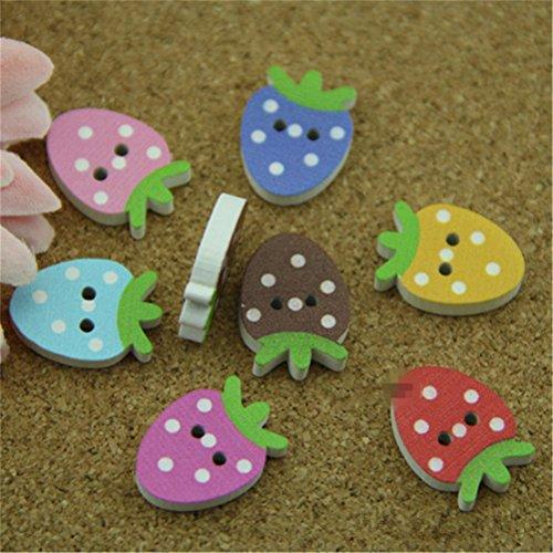 """Coolgoes confezione da 100 pezzi, 7 colori, per cameretta dei bambini, motivo: fragole, bottoni in legno, fatto a mano, i bottoni, bottoni in legno """"ingrosso monopolio detrazione bambino"""