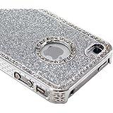 Sliver Luxury Bling Glitter Diamond Chrome Rhinestone Hard Case for iPhone 4 4G 4S