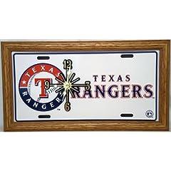 1 , Quartz Clock, on,  ,TEXAS RANGERS, , Metal Sign, with a, Natural Oak, Wood,...