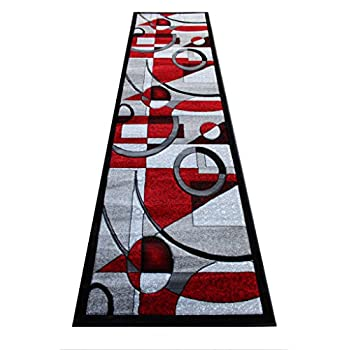 Masada Rugs, Sophia Collection Hand Carved Area Rug Modern Contemporary Red Grey White Black (2 Feet 8 Inch X 10 Feet) Runner