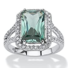 buy Emerald-Cut Green Spinel And Cubic Zirconia Platinum Over Sterling Silver Halo Cocktail Ring