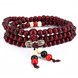 Yosoo 2pcs 8mm Wood Bracelet Link Necklace Chain Tibetan Buddhist Multicolor Sandalwood Prayer Buddha Mala for Women and Men (Red)