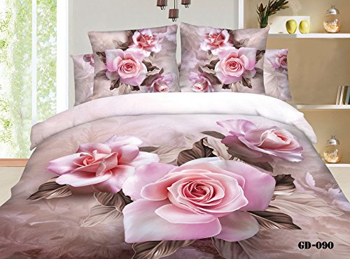 Queen King Size 100% Cotton 7-Pieces 3D Pink Roses Coffee Floral Prints Fitted Sheet Set With Rubber Around Duvet Cover Set/Bed Linens/Bed Sheet Sets/Bedclothes/Bedding Sets/Bed Sets/Bed Covers/ Comforters Sets Bed In A Bag (Queen) front-727448
