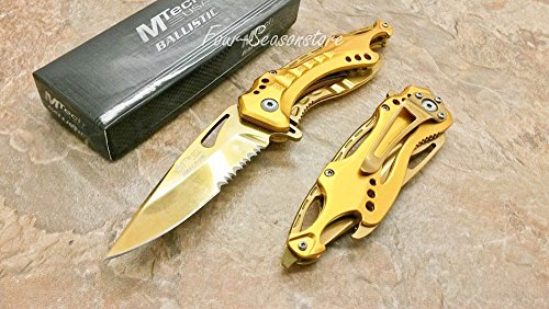 Best Buy! MTech USA Assisted Opening ALL Gold Titanium Coating Aluminum Handle Rescue Tactical Stain...