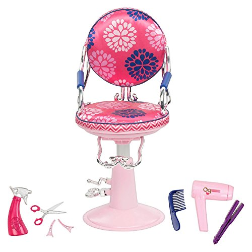 Our Generation Salon Chair - Includes Hot Pink Salon Chair, Spray Bottle, Pair of Scissors, Hair Clips, Non-functioning Hair Dryer, and Non-functioning Straightening Iron - For 18