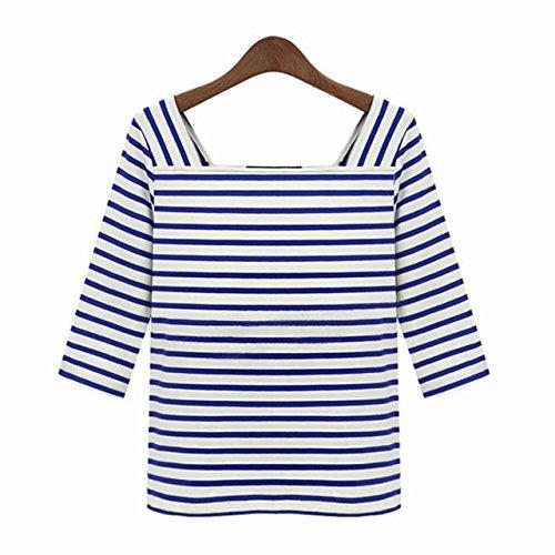 Ayliss-Damen-Marine-Blau-Gestreift-Shirt-34-Arm-T-Shirt-flexibel-Herstkleid-Oberteil-Asien-Gr-LEU-M