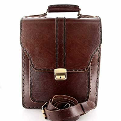 "Leather Messenger, Men's Briefcase, Leather Bags, Handmade Vertical Messenger, 13""(H)x11,5""(L), Brown"
