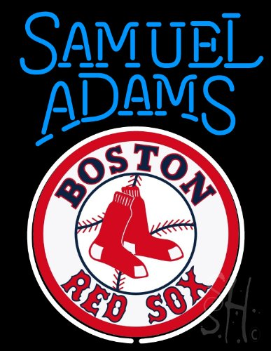 "Sam Adams Boston Red Sox Neon Sign 31"" Tall x 24"" Wide x 3"" Deep at Amazon.com"