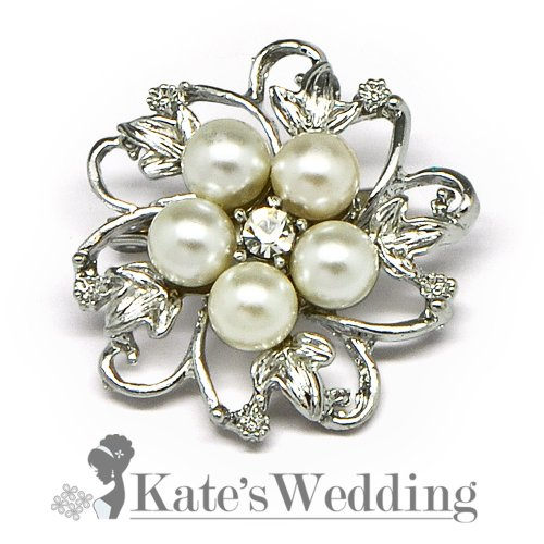 Shell Pearl Rhinestone Flower Mini Corsage Wedding