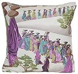 "Indian Sari Pillow Throw Case Lilac Design Cushion Cover Manuel Canovas Fabric 16"" X 16"""