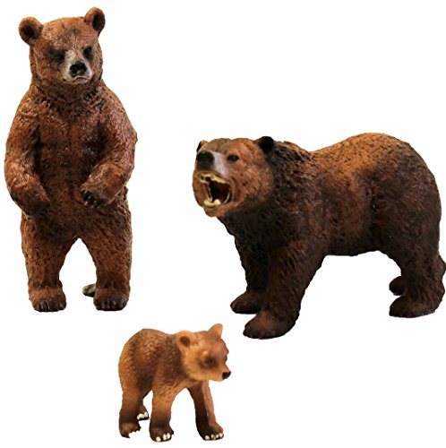 Migration, Set of Grizzly Bear Family, 2 Adult & Baby Animal Figures