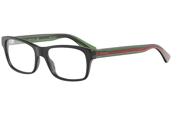 Gucci GG 0006O 006 Black/Green Plastic Rectangle Eyeglasses 55mm (Color: Black/Green, Tamaño: 55/18/145)