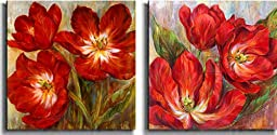 Flamenco Reds & Tango Tangerine by Liv Carson 2-pc Premium Stretched Canvas Set (Ready to Hang)