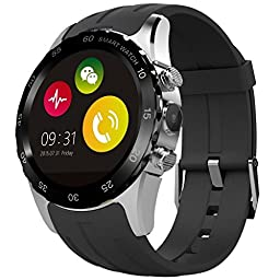 Evershop® IPS Round Touch Screen Bluetooth Smart Watch Phone with SIM Card Slot and NFC Heart Rate Monitor Wrist Watch for IOS Apple iPhone, Android Samsung HTC Sony LG Smartphones (Black-silver)