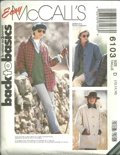 Misses Unlined Jacket Size:12,14,16. McCall's Sewing Pattern 6103