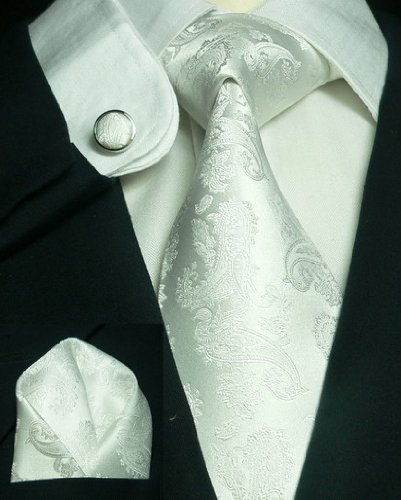 Landisun Paisleys Mens Silk Tie Set: Tie+Hanky+Cufflinks 663 White, 3.75