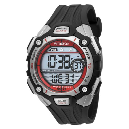 Armitron Men's 408190RED Sport Red Accented Digital Chronograph Watch