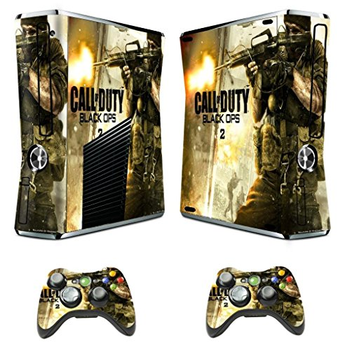 Designer Skin Sticker for Xbox 360 Slim Console with Two Wireless Controller Decals Call of Duty Black Ops II