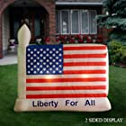 4th of July PATRIOTIC 8'W Airblown Inflatable American Flag w/ 2 Sided Display