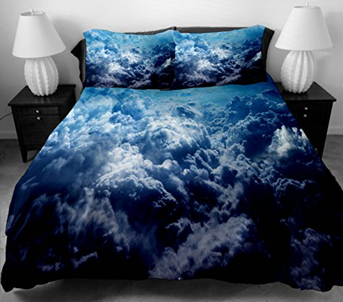 Anlye Hotel Bedding Collection Set 2 Sides Printing Clouds Mass In The Blue Sky Duvet Cover With 2 Silk-Like Clouds Pillow Cases Full front-775497