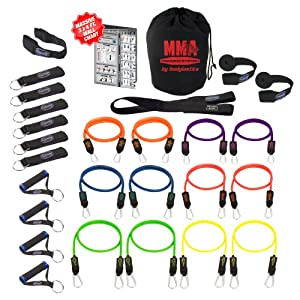 Bodylastics 28 pcs Resistance Bands Set *MMA TRAINING with 12 Stackable anti-snap exercise tubes, Heavy Duty components, carrying case, and FREE 6 month access to over 2000 full length resistance bands workout videos from Pilates to MMA