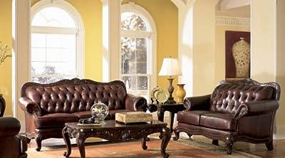 Victoria Classic Button Tufted Leather Sofa Set