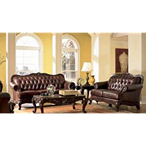 Victoria Classic Button Tufted Leather Sofa Set