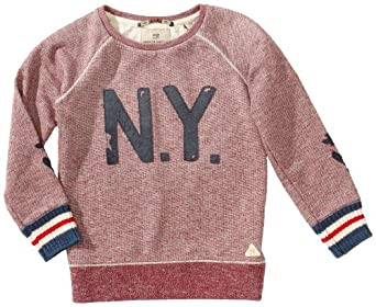 Scotch Shrunk Jungen Sweatshirt 13440740513 crewneck sweat with patches,128 (8), Rot (420 - ruby red melange)