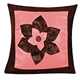 BIG LILY FLOWER PATCH CUSHION COVER BROWN & PINK 1 PC (40 X 40 CMS)