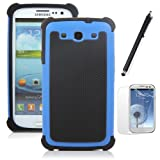 ATC Impact Resistant Bumper Case (Blue+Black) for Samsung Galaxy S III S3 I9300 + Screen Protector and Stylus
