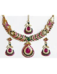 Faux Ruby, Emarald And White Zirconia Studded Necklace Set With Mang Tika - Stone And Metal