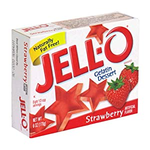 Image: Jell-O Strawberry Gelatin Dessert 6 oz - Naturally fat free - Kosher
