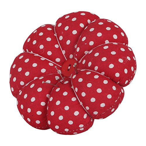Neoviva Wrist Wearable Pumpkin Pin Cushion, Polka Dot Red