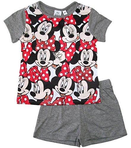 Minnie Mouse 2016 Schlafanzug Shorty 92 98 104 110 116 122 128 Mädchen Shortie Disney Pyjama Kurz Neu Maus (110 - 116, Weiß-Grau)