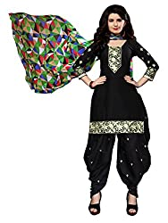 Shopping Point Black Cotton Anarkali Unstitched Dress Material