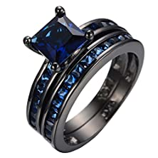 buy Jw Collection Vintage Black Gold Filled Couple Blue Crystal Cubic Zircon Bridal Promise Wedding Rings