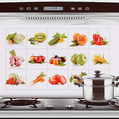 Zaki-75x45cm Fruit & Vegetables Pattern Oil-Proof Water-Proof Hot-Proof Kitchen Wall Sticker